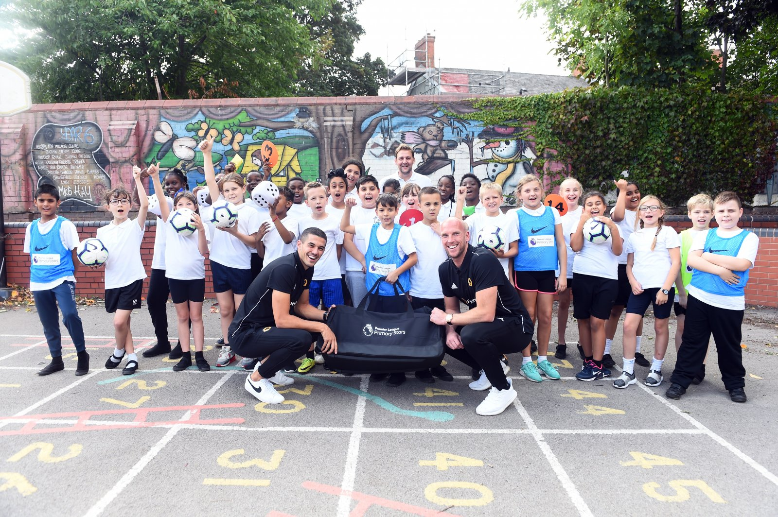 Premier League players head back to school to take part in Premier League Primary Stars PE lessons